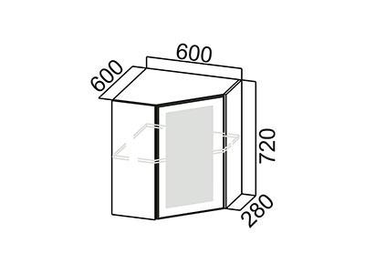 Шкаф навесной 600 (угловой со стеклом) Ш600ус/720 Серый / Лаура / Графит глянец