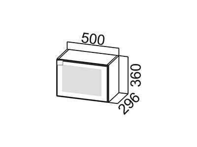 Шкаф навесной 500 (горизонтальный со стеклом) ВЕРХ ШГ500с/360 Серый / Лаура / Графит глянец