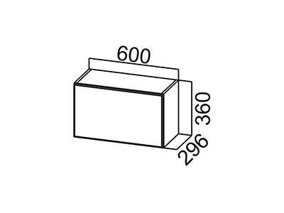 Шкаф навесной 600 (горизонтальный) ВЕРХ ШГ600/360 Серый / Лаура / Груша глянец
