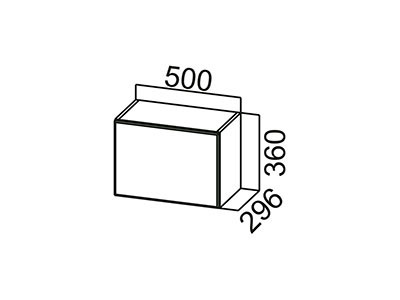 Шкаф навесной 500 (горизонтальный) ВЕРХ ШГ500/360 Белый / Лаура / Баклажан