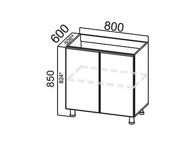 Стол-рабочий 800 (под мойку) М800 Серый / Классика / Тиковое дерево