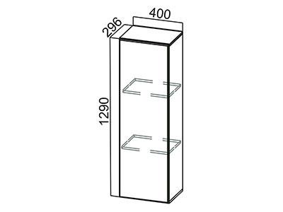 Пенал-надстройка 400 ПН400/720 (296) Белый / ЛОФТ / Белый глянец