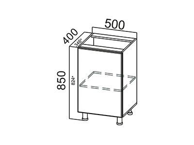 Стол-рабочий 500 С500(400) Серый / ЛОФТ / Белый глянец