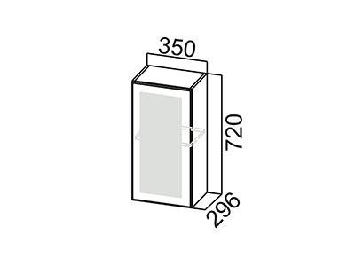 Шкаф навесной 350 (со стеклом) Ш350с/720 Серый / Классика / Сосна белая