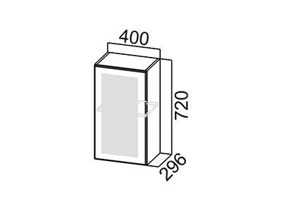 Шкаф навесной 400 (со стеклом) Ш400c/720 Серый / Классика / Тиковое дерево