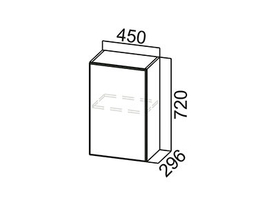 Шкаф навесной 450 Ш450/720 Серый / Классика / Тиковое дерево
