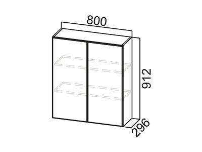 Шкаф навесной 800 Ш800/912 Серый / Классика / Ясень Шимо тм.