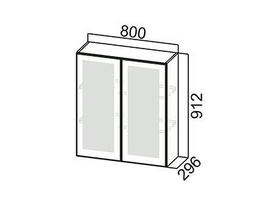 Шкаф навесной 800 (со стеклом) Ш800с/912 Серый / Классика / Сосна белая