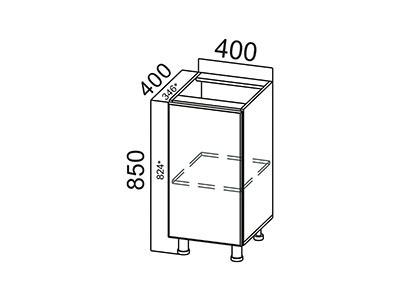 Стол-рабочий 400 С400(400) Серый / Классика / Тиковое дерево