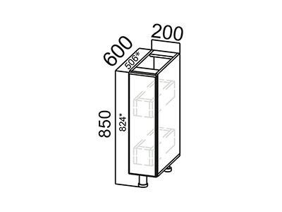 Стол-рабочий 200 (бутылочница) С200б Серый / ГРЕЙВУД / Деним голубой