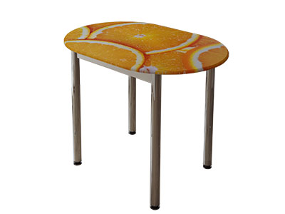 Стол обеденный с принтом Белый/Цитрус
