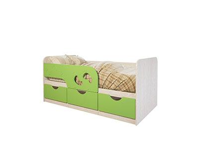 Кровать детская Минима Лего 1600 Дуб атланта/Лайм глянец