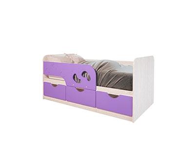 Кровать детская Минима Лего 1600 Дуб атланта/Лиловый сад