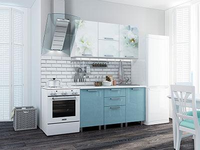 Кухня Бьянка - Голубые блёстки/Фотопечать (1,5м)