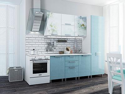 Кухня Бьянка - Голубые блёстки/Фотопечать (2,1м)