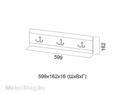 Планка декоративная с крючками 1,0м Белый перламутр - МС №1