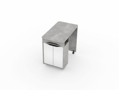 Стол Цемент светлый/Белый - Миндаль