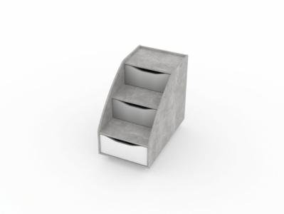 Лестница с ящиками Цемент светлый/Белый - Миндаль