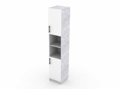 Пенал с двумя створками Цемент светлый/Белый - Стол компьютерный №7