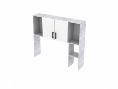 Надстройка Цемент светлый/Белый - Стол компьютерный №7