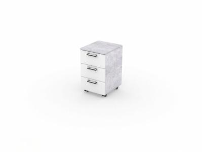 Тумба выкатная Цемент светлый/Белый - Стол компьютерный №7