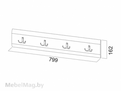 Планка декоративная с крючками 1,2м Белый перламутр - МС №1