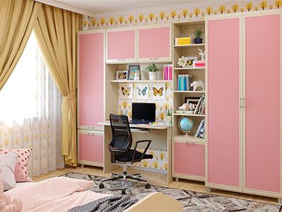 Детская Ксюша-1 - Дуб Беленый с розовыми вставками