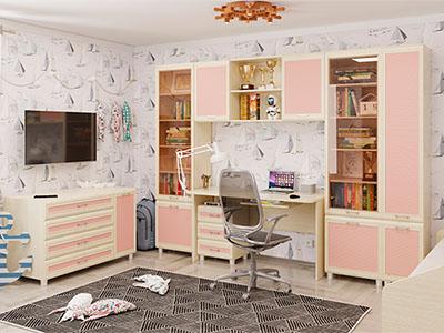Детская Ксюша-8 - Дуб Беленый с розовыми вставками