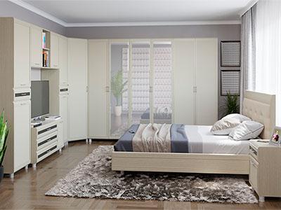 Спальня Мелисса-7 - Дуб Беленый, вст.Венге