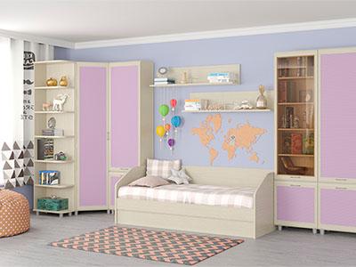 Детская Ксюша-11 - Дуб Беленый с сиреневыми вставками