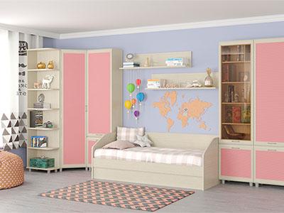 Детская Ксюша-11 - Дуб Беленый с розовыми вставками