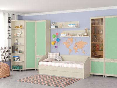 Детская Ксюша-11 - Дуб Беленый с зелеными вставками