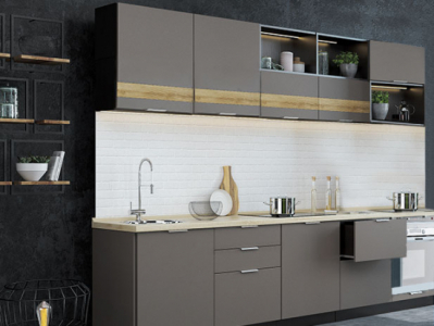 Кухня Терра - Смоки софт / Венге 3 м