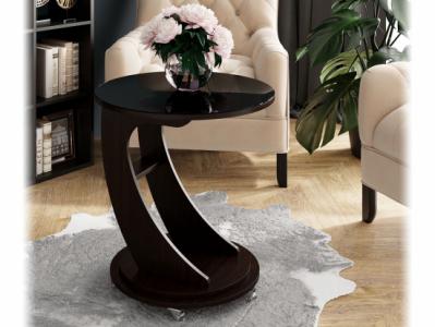 Журнальный стол №9 Дуб Венге с чёрным стеклом