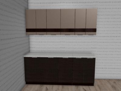 Кухня Терра - Капучино глянец/Венге (2,0м)